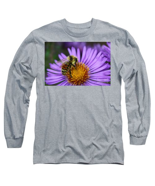Long Sleeve T-Shirt featuring the photograph New England Aster And Bee by Steve Augustin