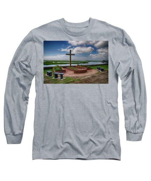 Long Sleeve T-Shirt featuring the photograph New Garden Cross At Belin Umc by Bill Barber
