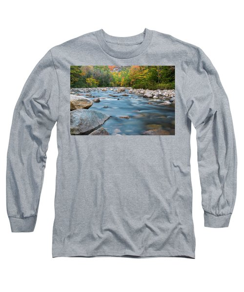 New Hampshire Swift River And Fall Foliage In Autumn Long Sleeve T-Shirt by Ranjay Mitra