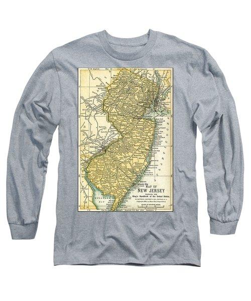 New Jersey Antique Map 1891 Long Sleeve T-Shirt