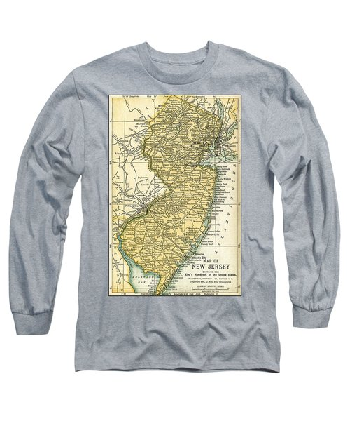 New Jersey Antique Map 1891 Long Sleeve T-Shirt