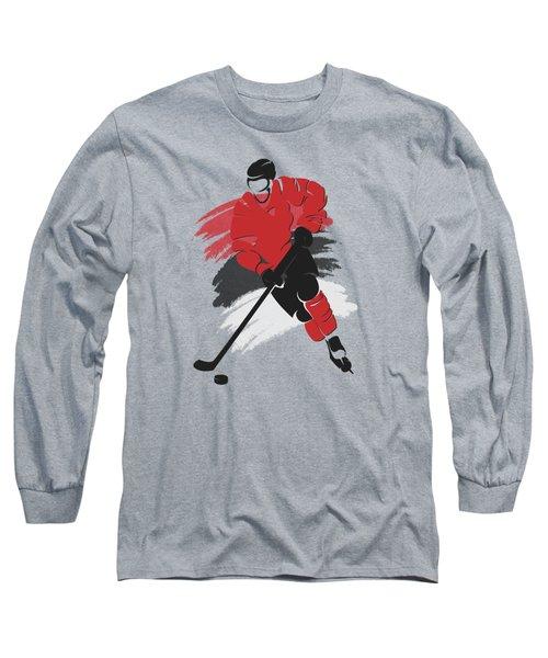 New Jersey Devils Player Shirt Long Sleeve T-Shirt by Joe Hamilton