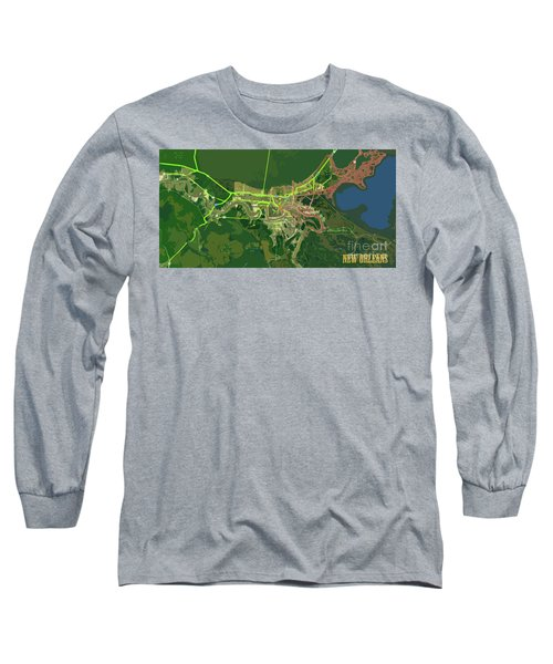 New Orleans Old Map Green Abstract Long Sleeve T-Shirt
