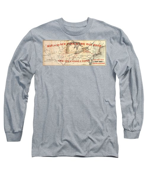 Long Sleeve T-Shirt featuring the photograph New York And Erie Railroad Map 1855 by Daniel Hagerman