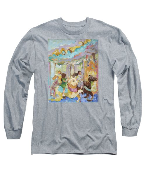 New York Carousel Long Sleeve T-Shirt by Sharon Furner