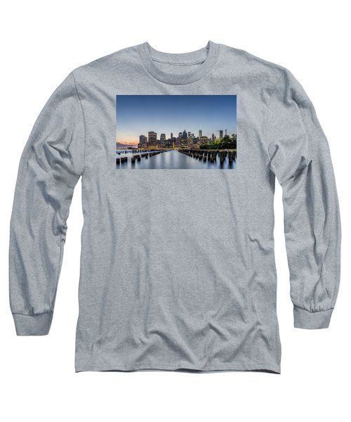 Long Sleeve T-Shirt featuring the photograph New York City Dusk by Rafael Quirindongo