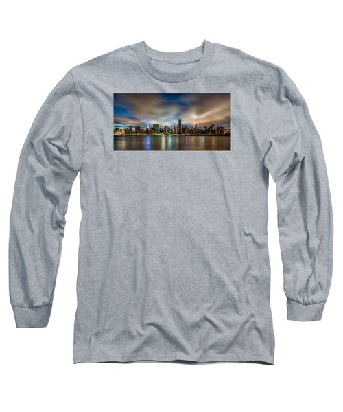 Long Sleeve T-Shirt featuring the photograph New York City Evening Skyline  by Rafael Quirindongo