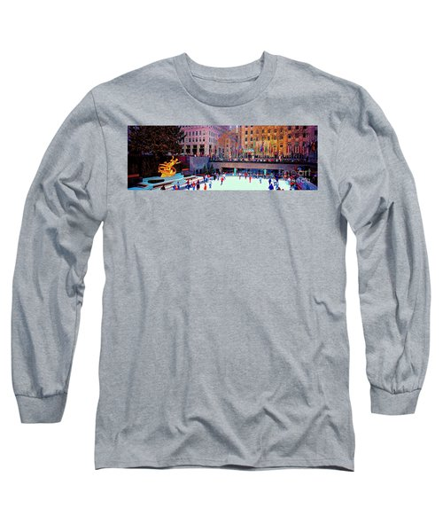 Long Sleeve T-Shirt featuring the photograph  New York City Rockefeller Center Ice Rink  by Tom Jelen