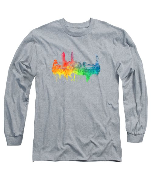 New York City Skyline Color Long Sleeve T-Shirt by Justyna JBJart