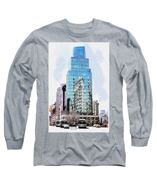 Long Sleeve T-Shirt featuring the digital art New York In Reflection by Kai Saarto