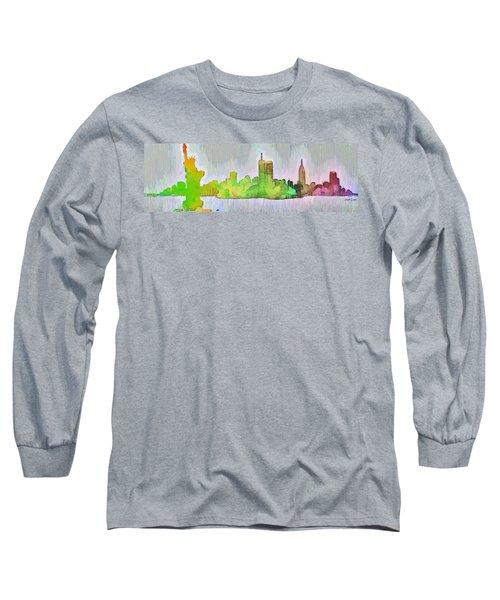 New York Skyline Old Shapes 2 - Da Long Sleeve T-Shirt