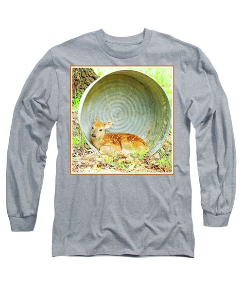 Newborn Fawn Finds Shelter In An Old Washtub Long Sleeve T-Shirt by A Gurmankin