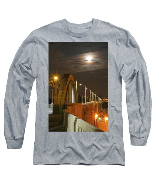 Night Shot Of The Los Angeles 6th Street Bridge And Supermoon #4 Long Sleeve T-Shirt