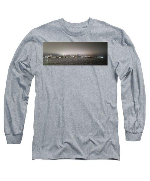 Night View Ocean City Downtown Skyline Long Sleeve T-Shirt