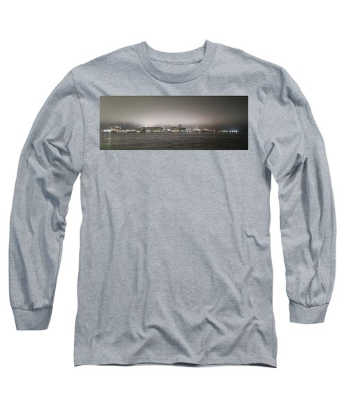 Night View Ocean City Downtown Skyline Long Sleeve T-Shirt