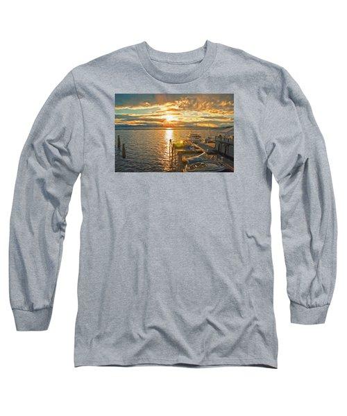 Nighttime Dockage Long Sleeve T-Shirt by Rena Trepanier