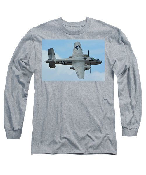 Long Sleeve T-Shirt featuring the photograph North American B-25j Mitchell N9856c Pacific Princess Chino California April 30 2016 by Brian Lockett