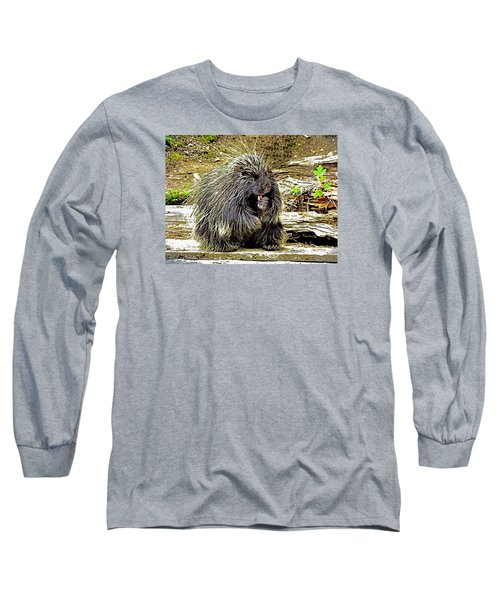 Long Sleeve T-Shirt featuring the photograph North American Porcupine by Kathy Kelly