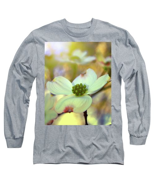 Long Sleeve T-Shirt featuring the painting North Carolina Dogwood State Flower by Gray  Artus