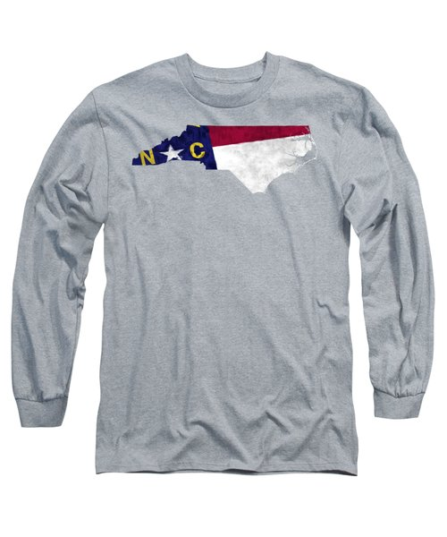 North Carolina Map Art With Flag Design Long Sleeve T-Shirt