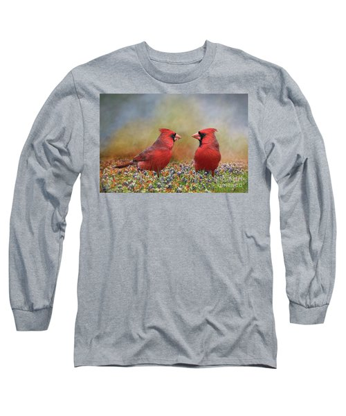 Northern Cardinals In Sea Of Flowers Long Sleeve T-Shirt by Bonnie Barry