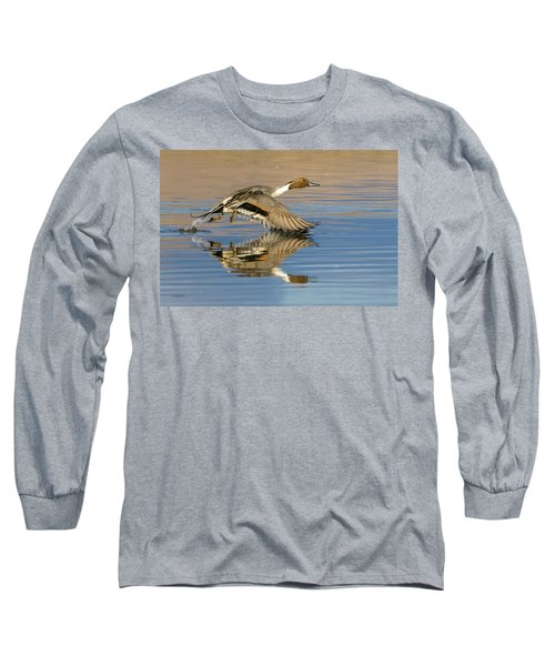 Northern Pintail With Reflection Long Sleeve T-Shirt