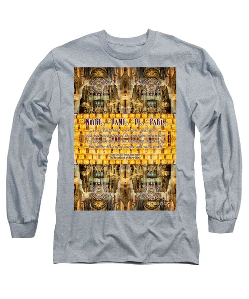 Notre-dame Cathedral Rose Stained Glass Candles Novel Quote Long Sleeve T-Shirt