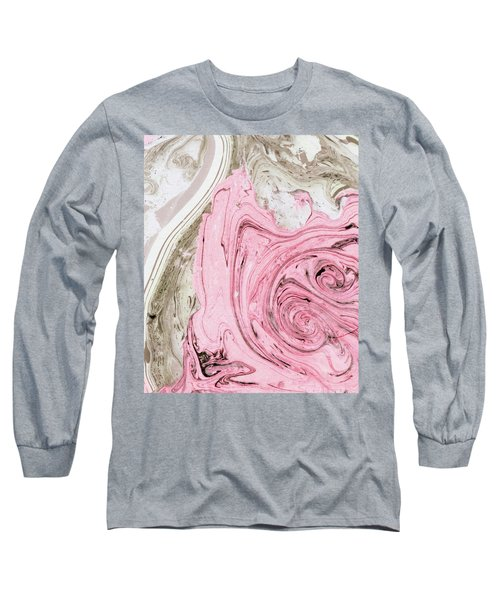 Nude And Pink Marbling Art Long Sleeve T-Shirt
