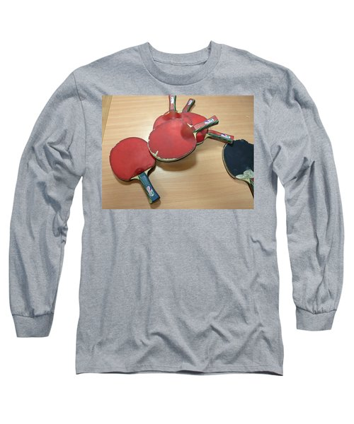 Number Of Ping Pong Bats Piled On A Table Long Sleeve T-Shirt