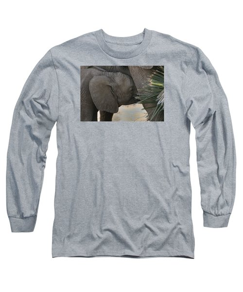 Long Sleeve T-Shirt featuring the photograph Nursing Elephant Calf by Gary Hall