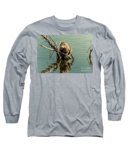 Nutria On Stick-up Long Sleeve T-Shirt by Robert Frederick