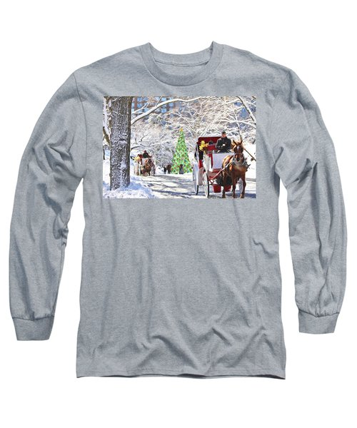 Festive Winter Carriage Rides Long Sleeve T-Shirt by Sandi OReilly
