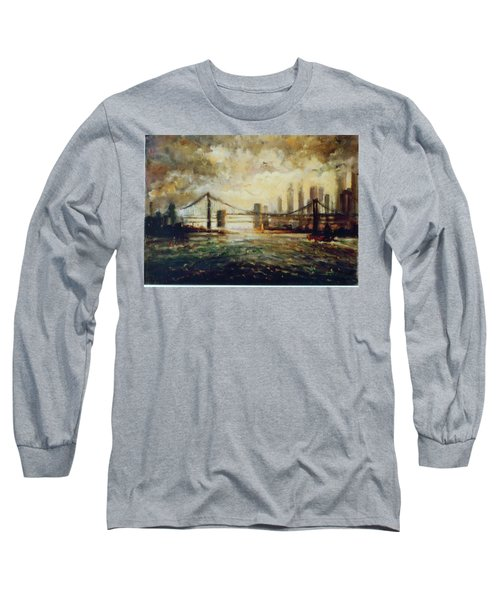 Nyc Harbor Long Sleeve T-Shirt by Walter Casaravilla