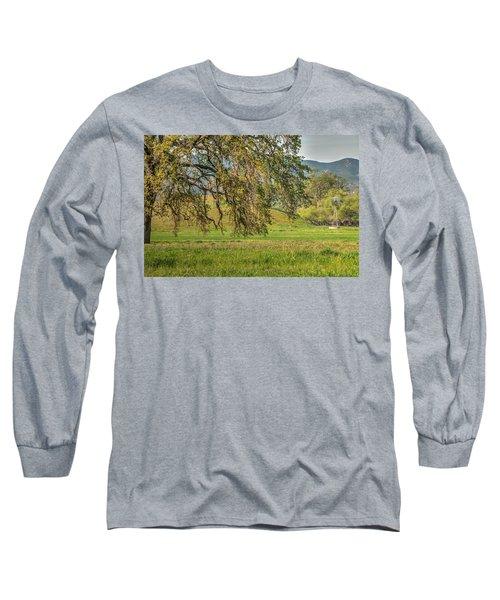 Oak And Windmill In Meadow Long Sleeve T-Shirt