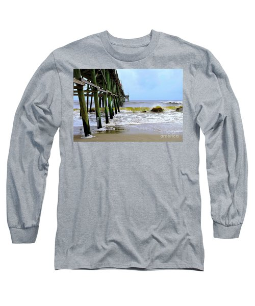 Oak Island Pier Before H.matthew Long Sleeve T-Shirt by Shelia Kempf