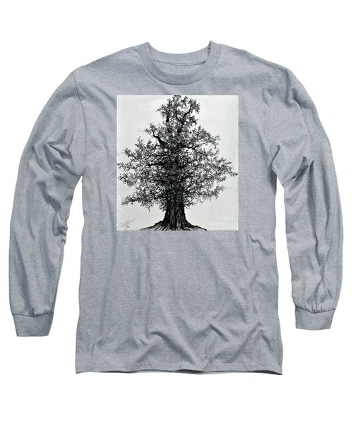 Long Sleeve T-Shirt featuring the drawing Oak Tree by Maja Sokolowska