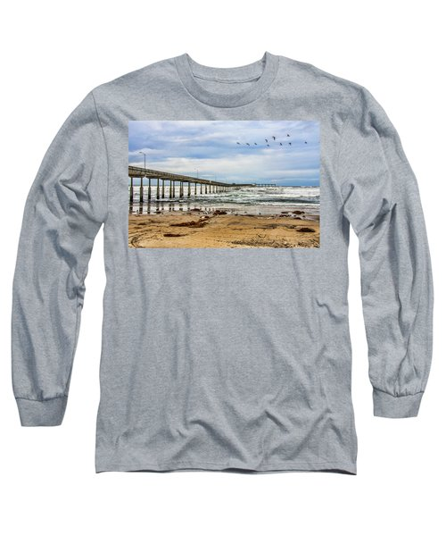 Ocean Beach Pier Fishing Airforce Long Sleeve T-Shirt by Daniel Hebard