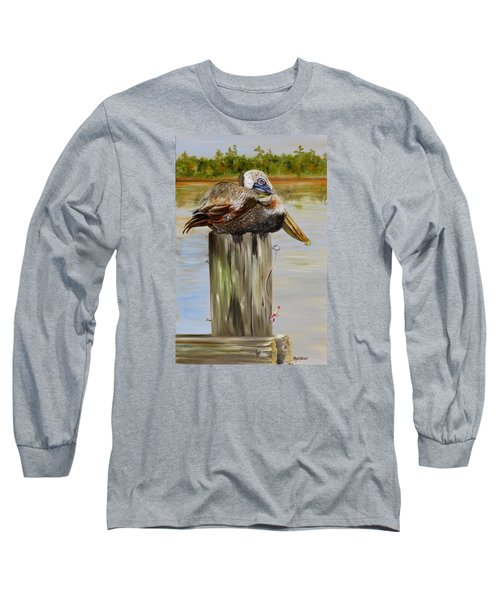 Long Sleeve T-Shirt featuring the painting Ocean Springs Pelican by Phyllis Beiser