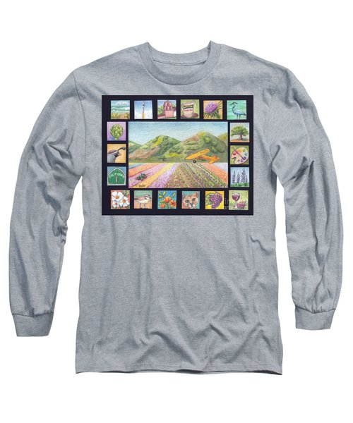 Long Sleeve T-Shirt featuring the drawing Ode To Lompoc by Terry Taylor