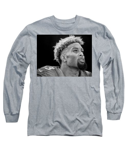 Odell Beckham Jr. Drawing Long Sleeve T-Shirt by Angelee Borrero