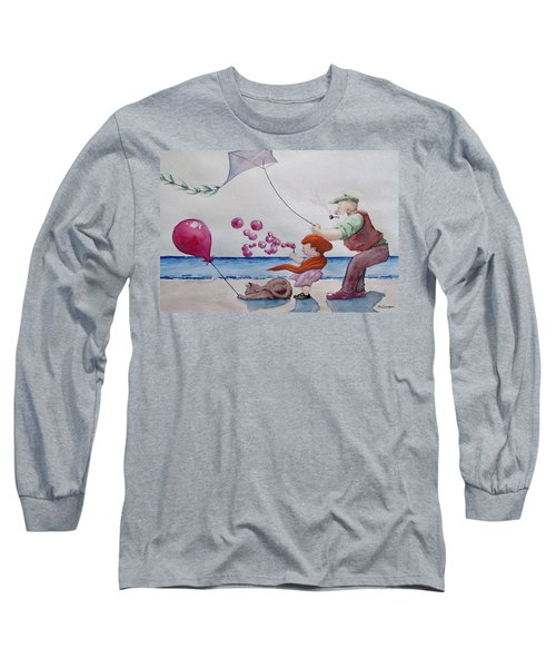 Long Sleeve T-Shirt featuring the painting Oh My Bubbles by Geni Gorani