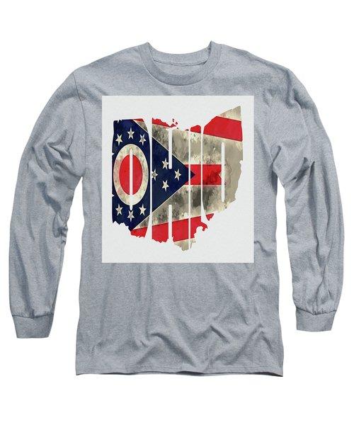 Ohio Typography Map Flag Long Sleeve T-Shirt