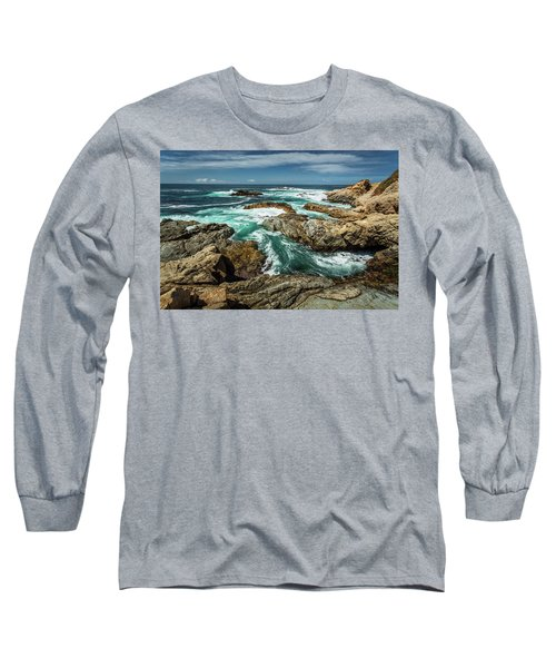 Oil Paint Of Rocks And Waves Long Sleeve T-Shirt