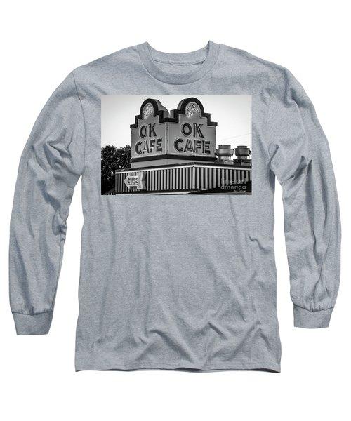 Ok Cafe Neon 2 B W Atlanta Classic Landmark Restaurant Art Long Sleeve T-Shirt
