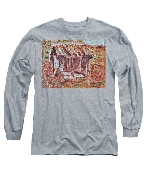 Long Sleeve T-Shirt featuring the painting Old Barn Outhouse Falling Apart In Decay And Dilapidation Rotting Wood Overgrown Mountain Valley Sce by MendyZ