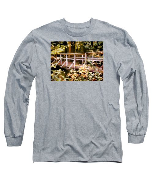 Old Bridge In The Woods In Color Long Sleeve T-Shirt by Rena Trepanier