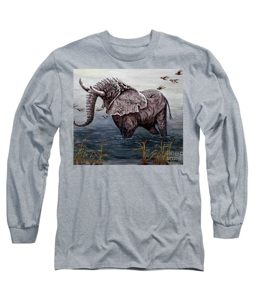 Long Sleeve T-Shirt featuring the painting Old Elephant by Judy Kirouac