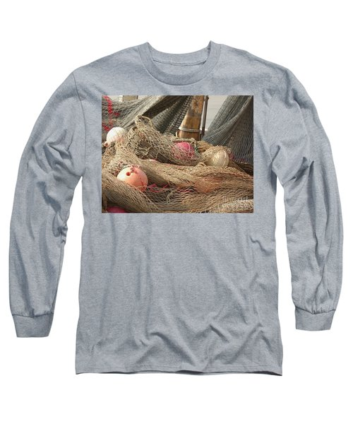 Old Fishing Nets With Floats Long Sleeve T-Shirt by Yali Shi