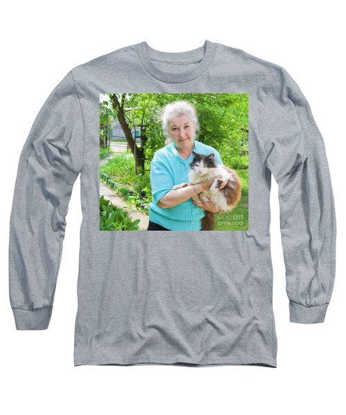 Old Lady With Cat Long Sleeve T-Shirt by Irina Afonskaya