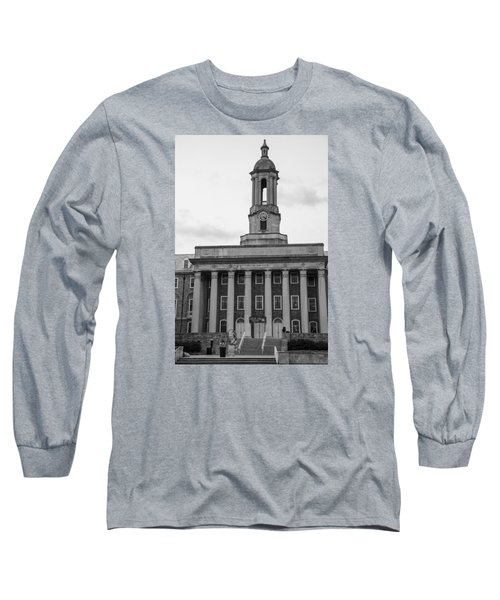 Old Main Penn State Black And White Long Sleeve T-Shirt by John McGraw